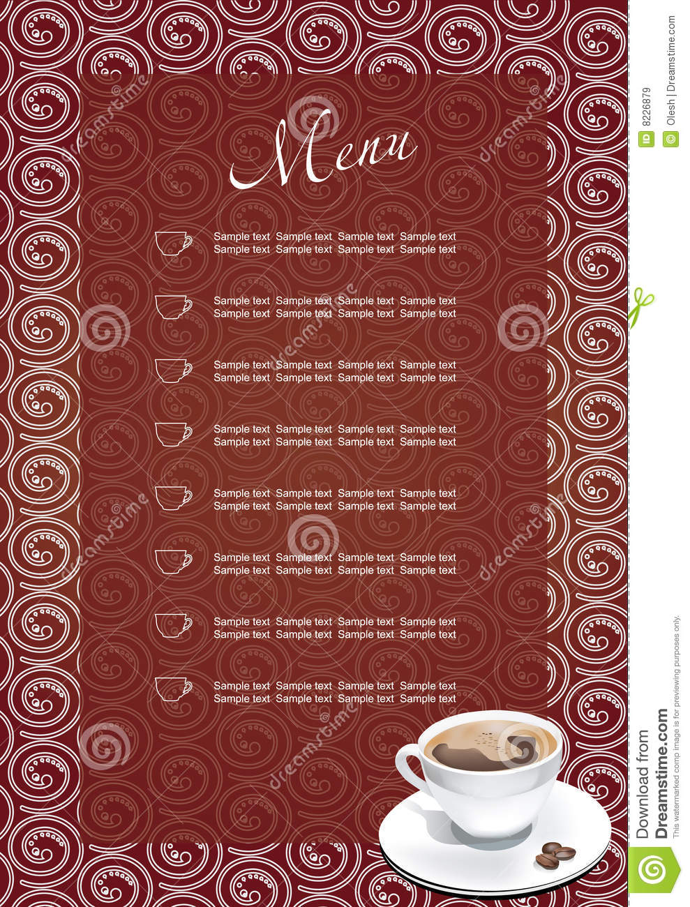 Coffee Break Menu Stock Vector Illustration Of Brown 8226879