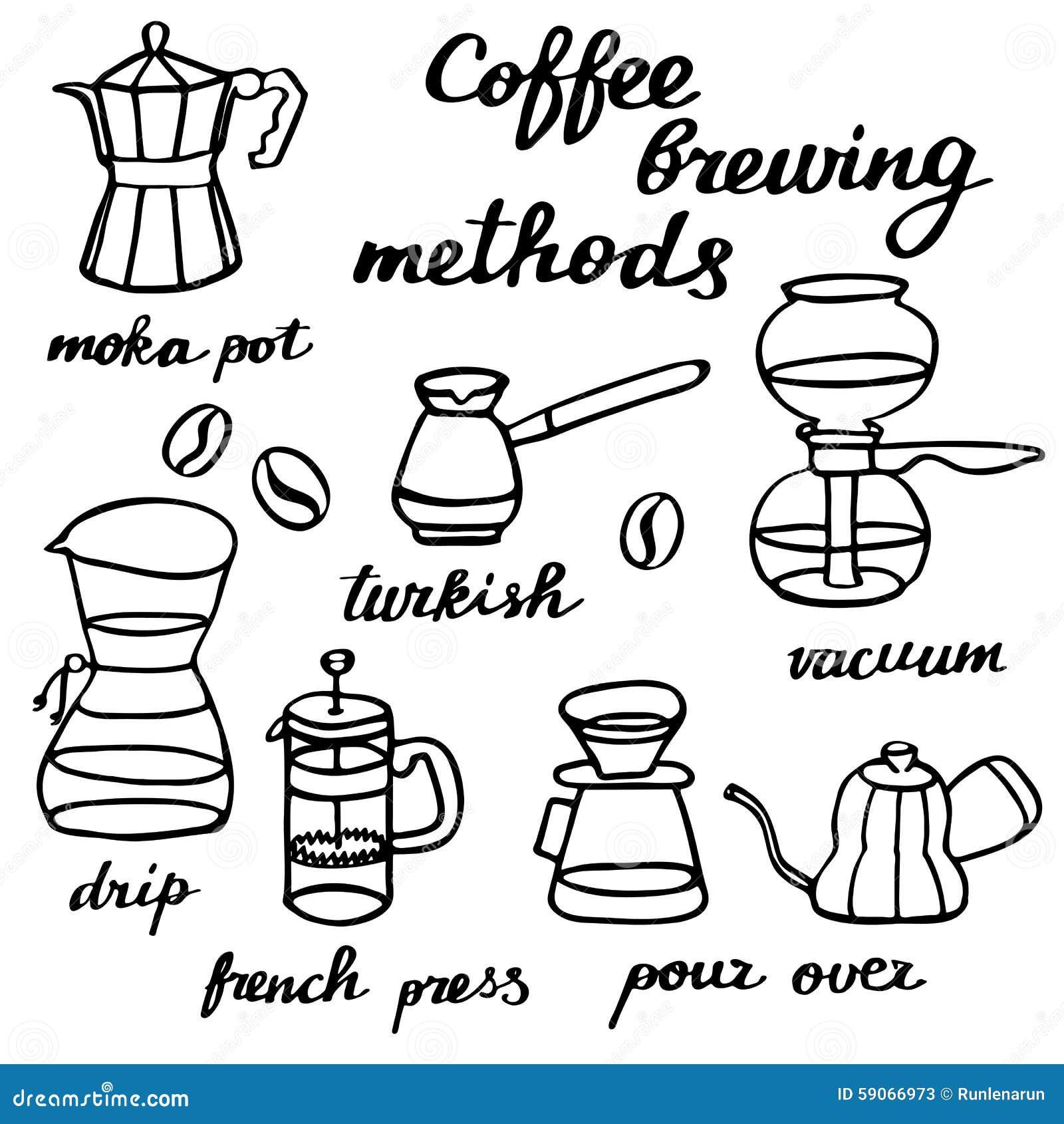 Coffee Maker Drawing ~ Coffee brewing methods set hand drawn cartoon
