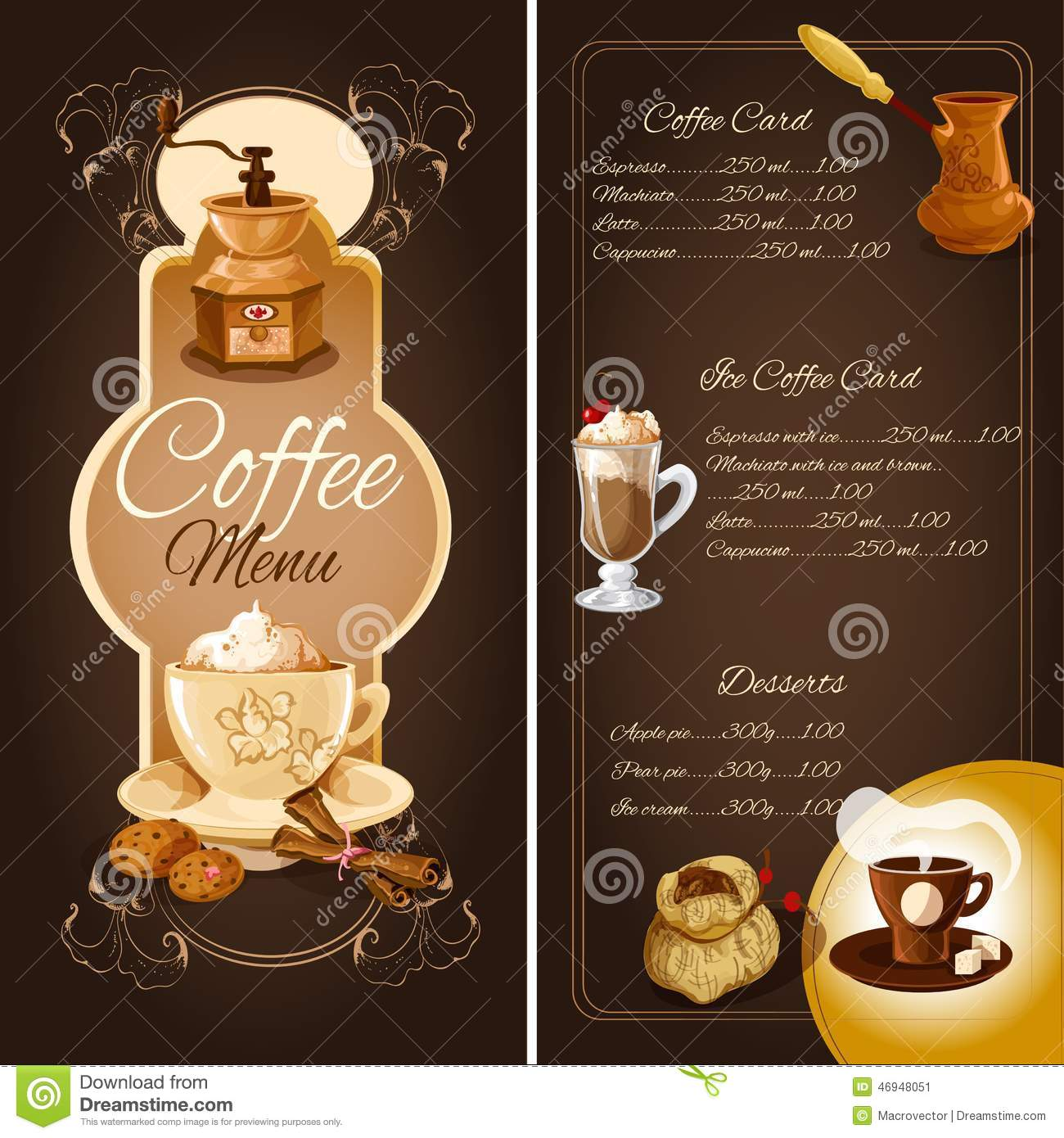 Cafe menu list template with hot ice coffee desserts elements and ...