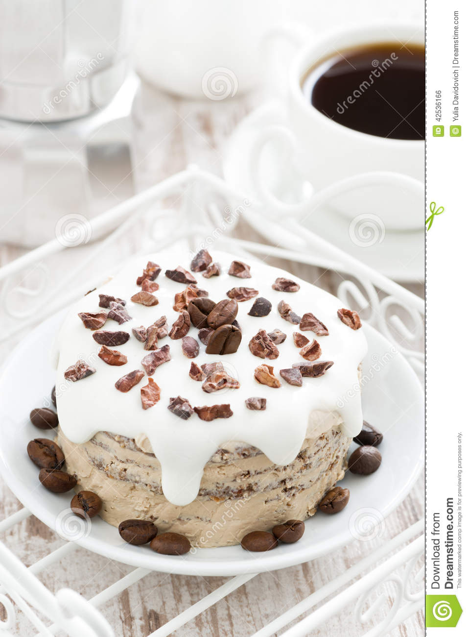 Coffee Cake With Icing Decorated With Cocoa Beans, Top ...