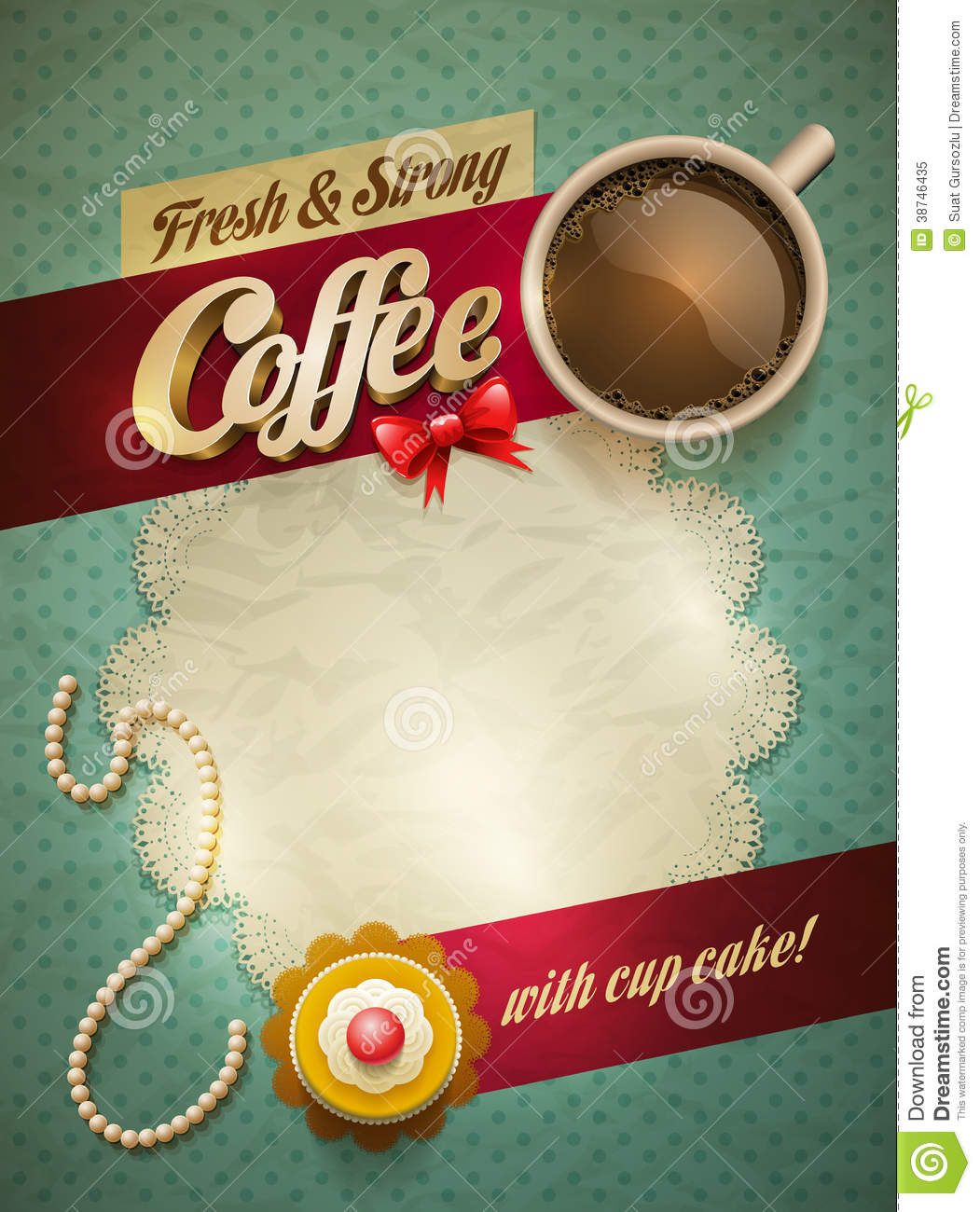 Coffee Amp Cake Poster Stock Vector Illustration Of