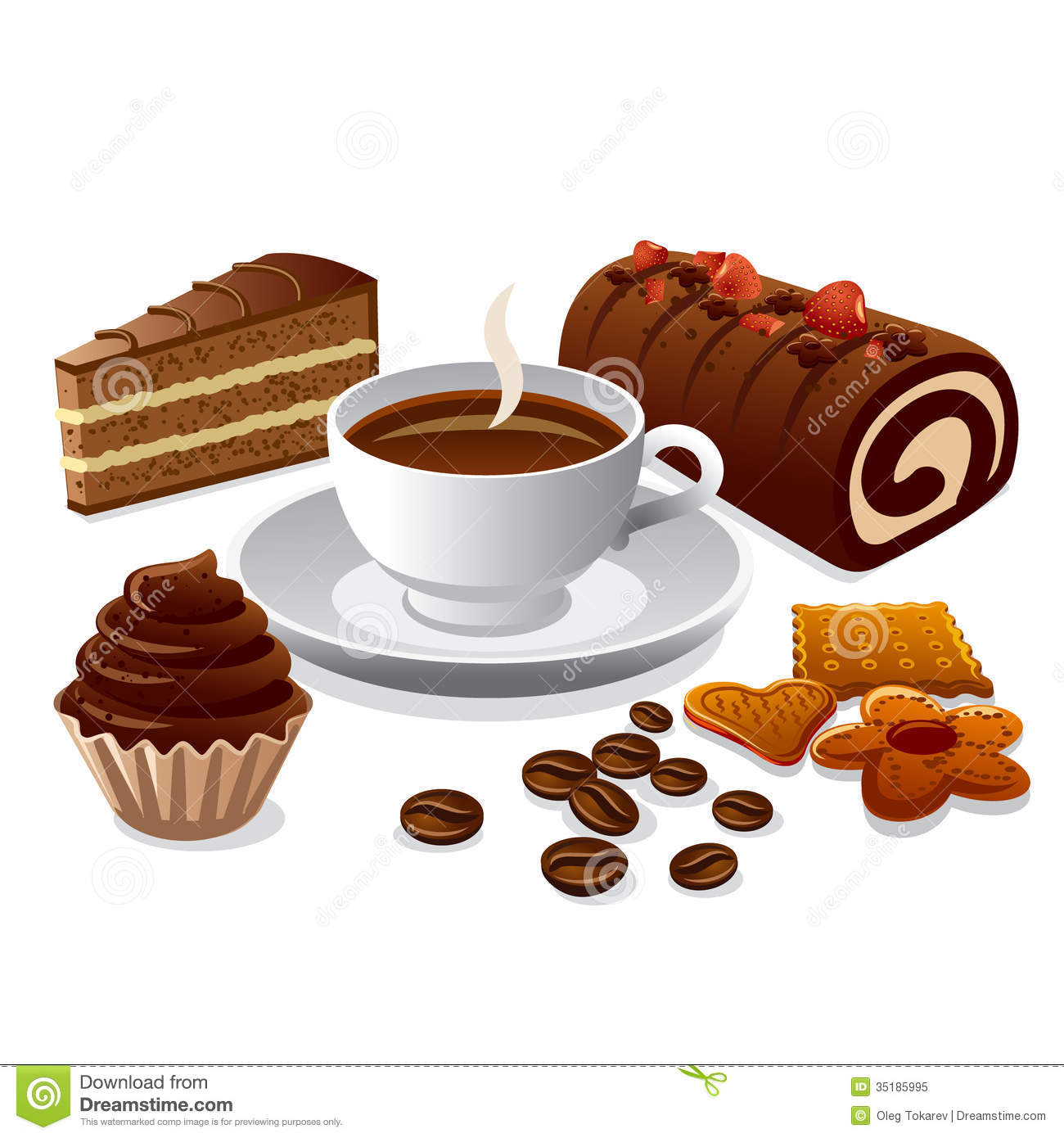Coffee and cakes stock illustration. Illustration of ...