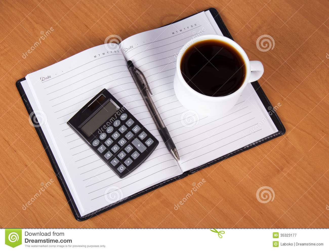 Coffee And Calculator On Open Notebook Stock Image Image Of Page Fragrant 35323177