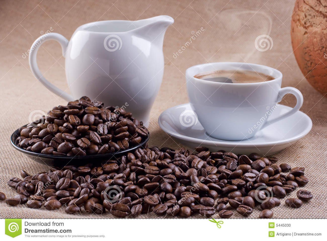 Coffee with can of milk