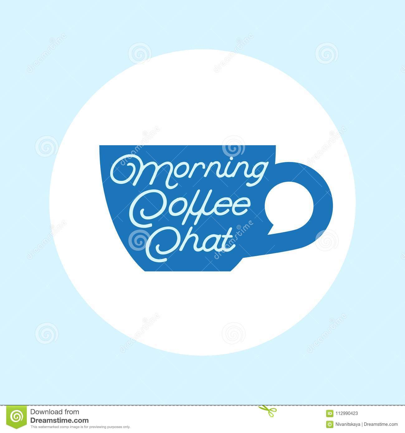 Coffee chat emblem. Coffee logo. Cup with the bubble on a white background.