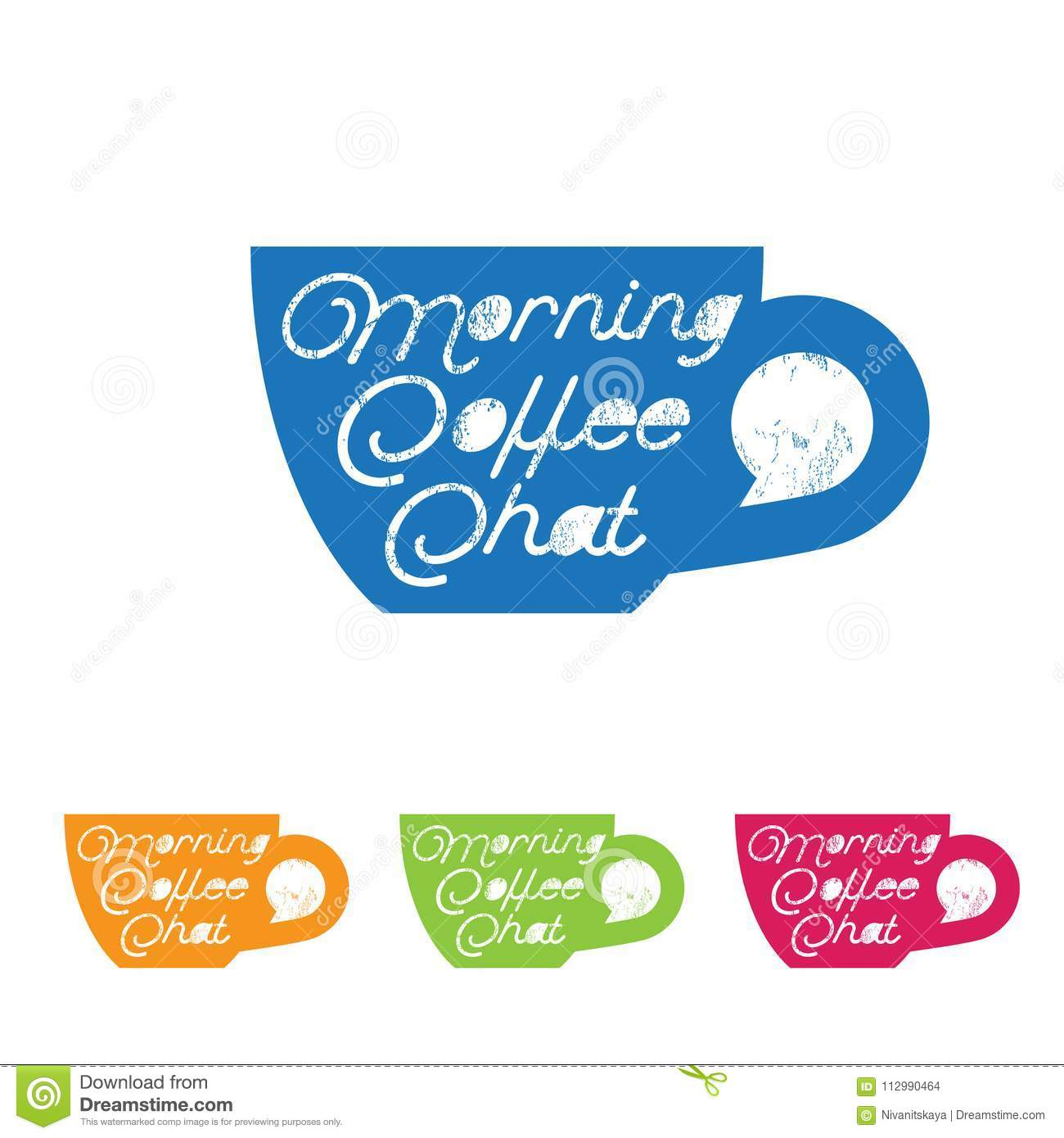 Coffee chat emblem. Morning coffee logo. Chat logo. Cup with the bubble in vintage style.