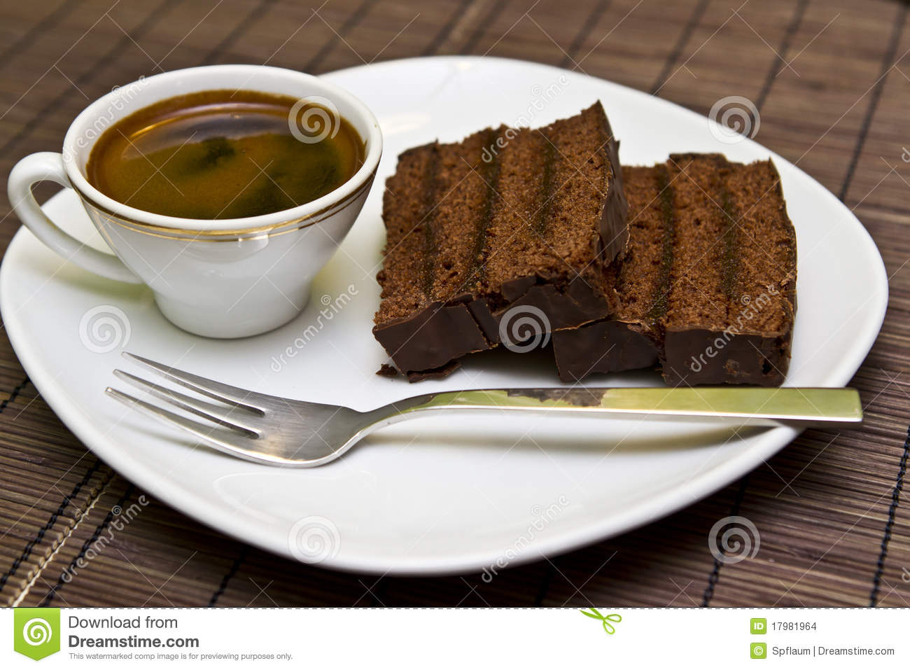 Coffee And Chocolate Cake Stock Photo Image Of Break
