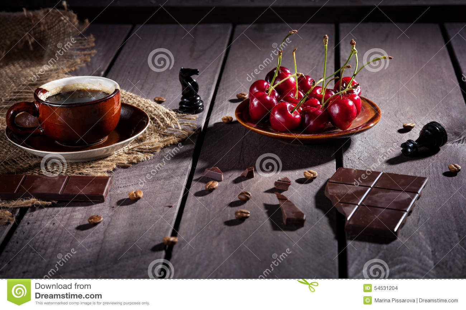 Coffee Chocolate And Cherry Stock Photo Image 54531204