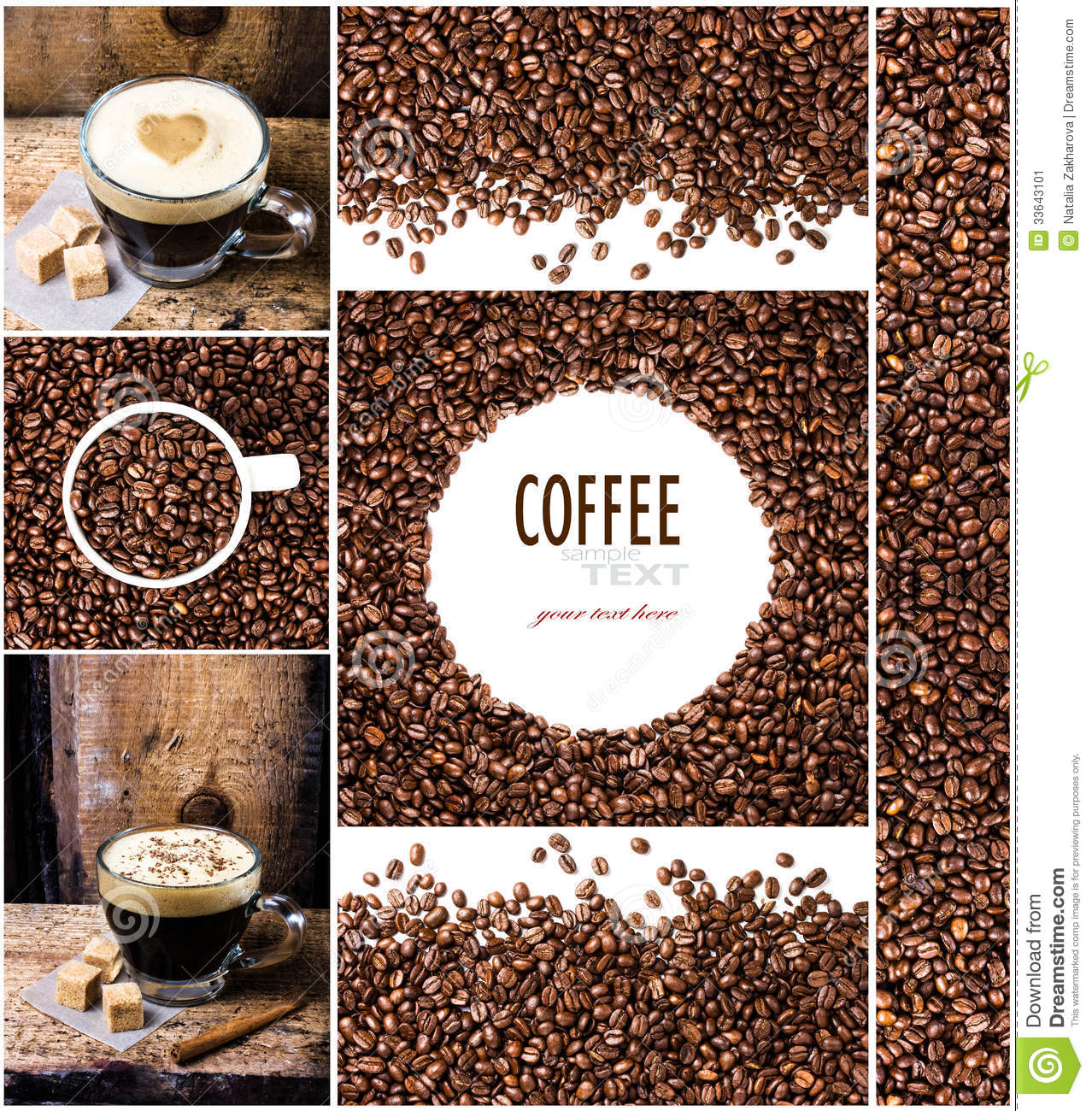 coffee collage with espresso  cappuccino  mocha and coffee