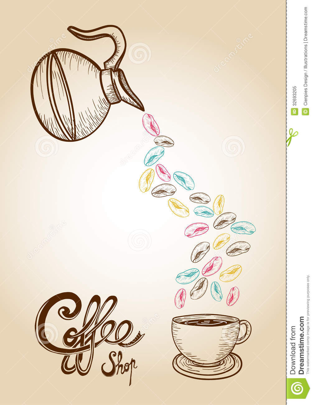 Coffee colorful sketch style beans illustration stock for How to draw a coffee bean