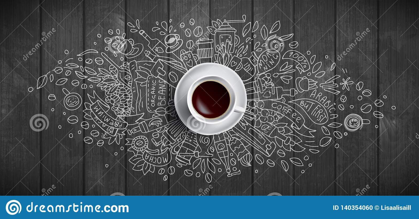 Coffee concept on wooden background - white coffee cup, top view with doodle illustration about coffee, beans, morning