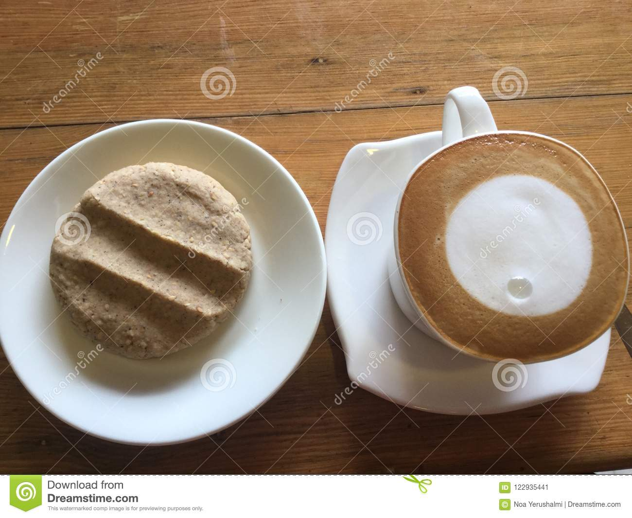 Coffee and cookie. Latte Art.
