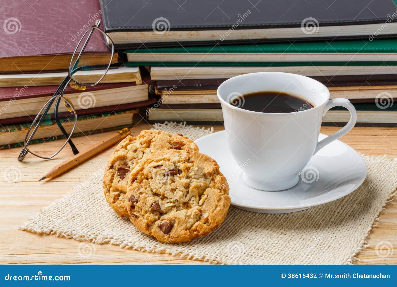Coffee cookie pencil and eyeglasses