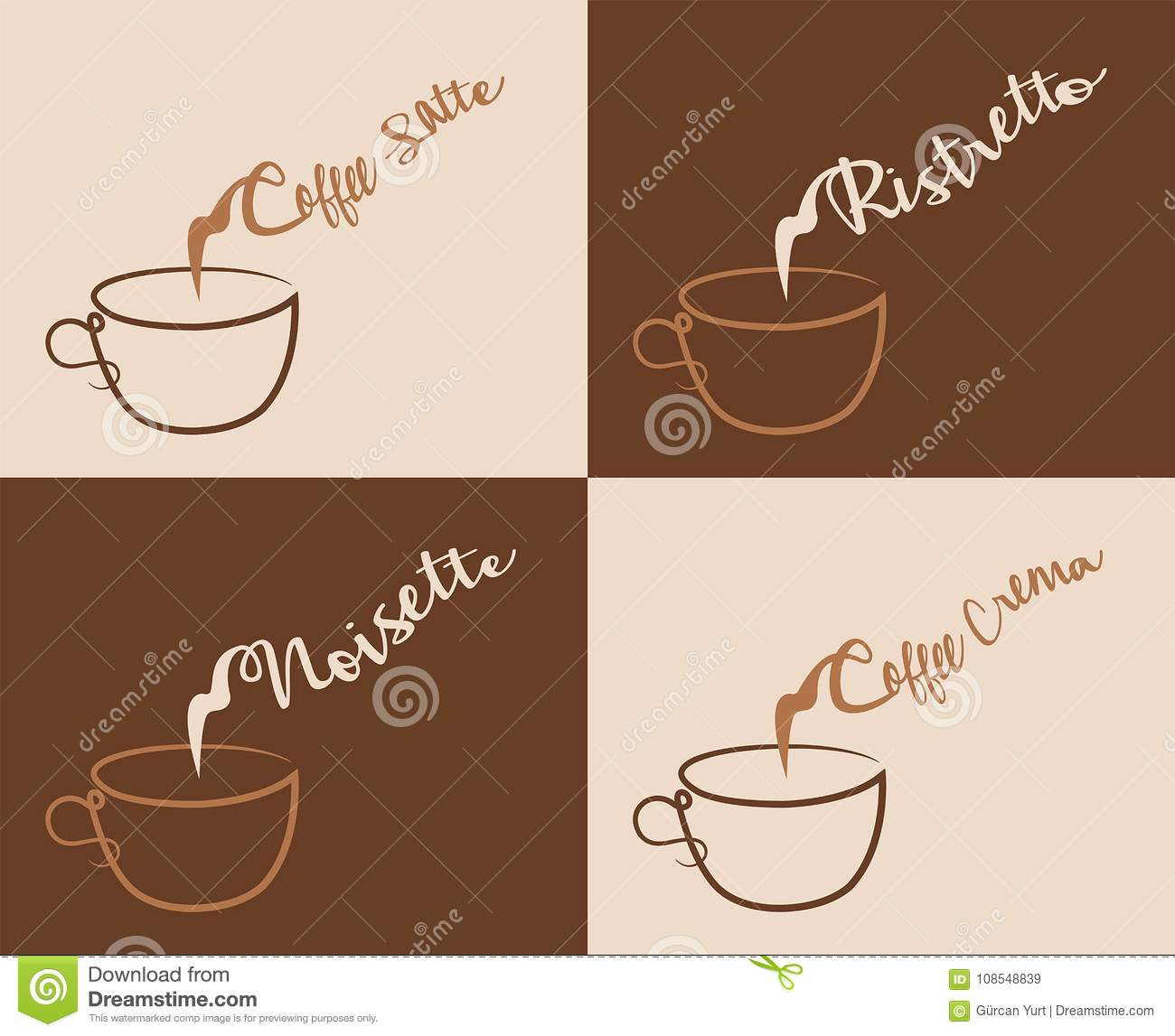 1348c5bcf383 Coffee Cream and Other Coffee Types With Steam. Four different coffee text  types did converted to outlines and don t need any fonts.