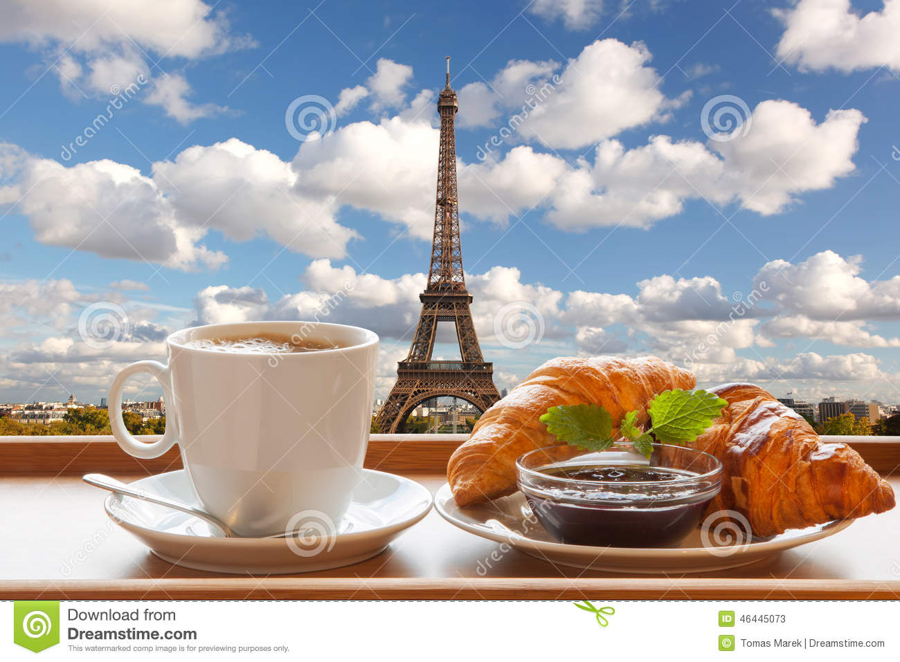 Coffee With Croissants Against Eiffel Tower In Paris ...