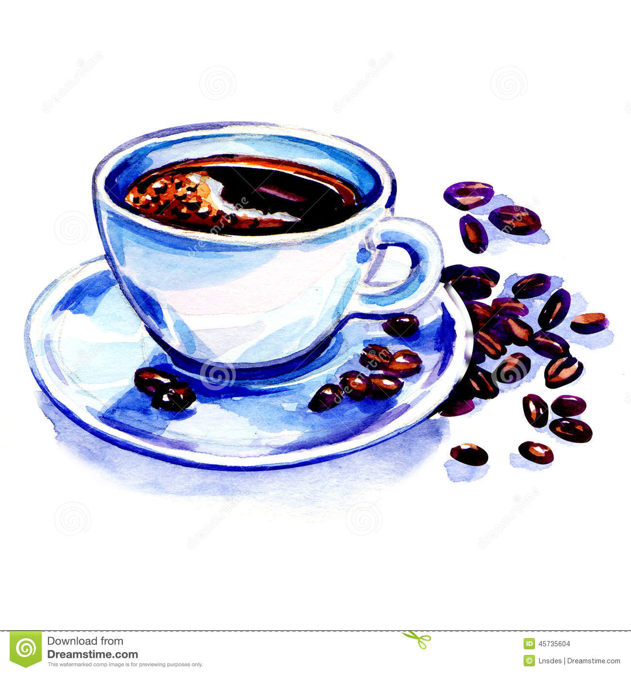 Coffee cup and beans on a white background stock for Coffee watercolor