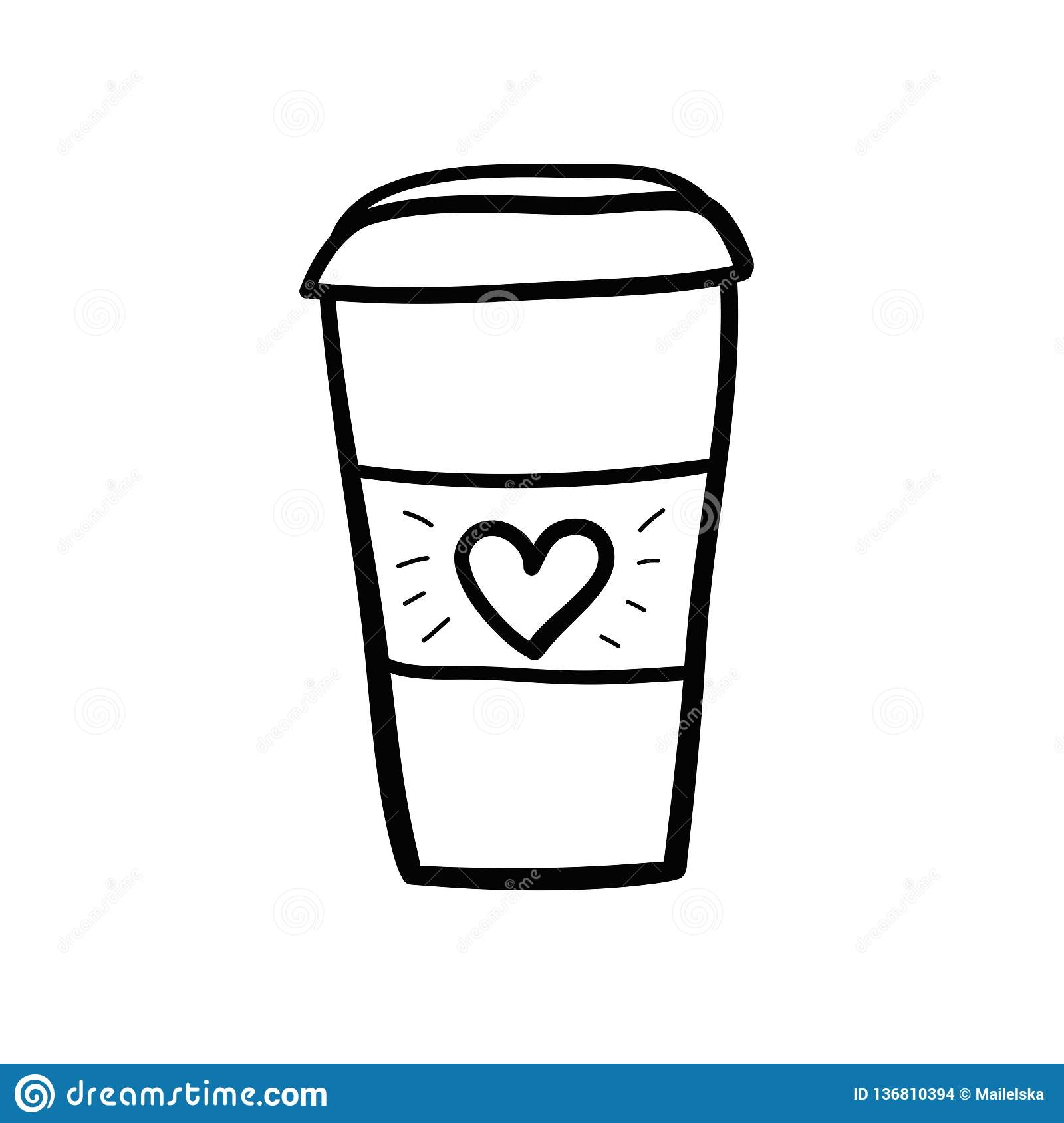 Coffee Cup Black And White With Heart Stock Illustration ...