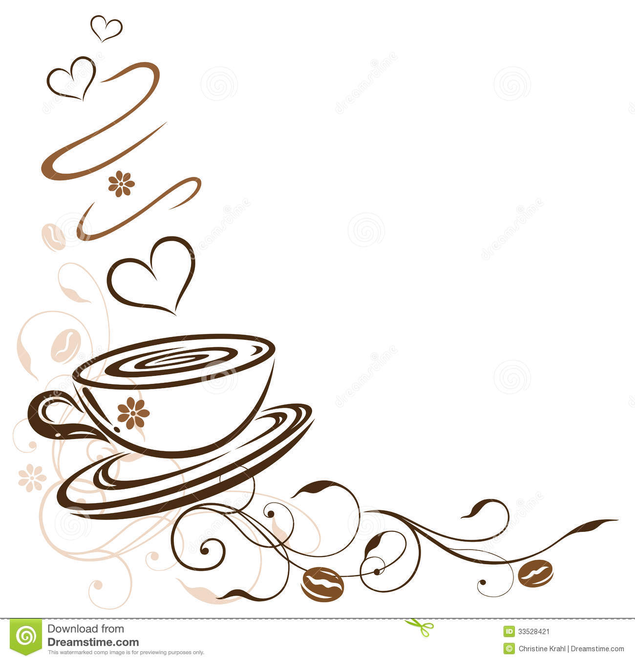 Coffee cup border with hearts and coffee beans.