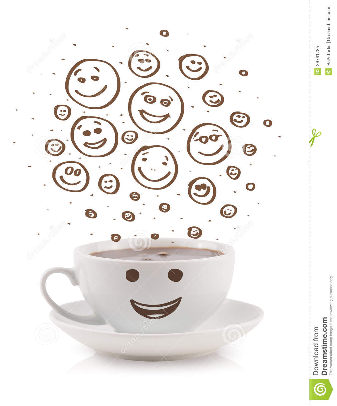 Coffee Cup With Brown Hand Drawn Happy Smiley Faces Stock Photo Image 39761785