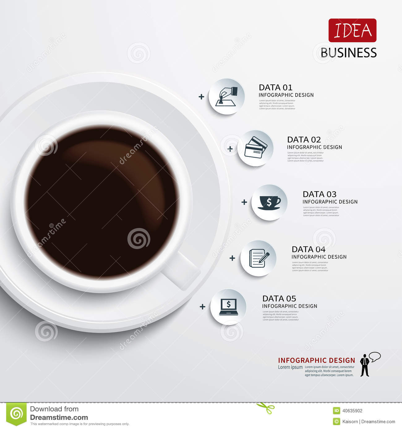 Coffee cup and business infographic stock vector image for Coffee business