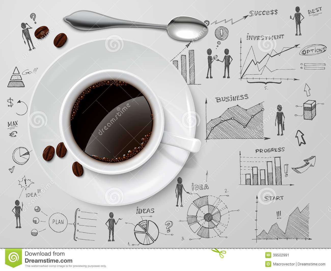 Coffee Cup On Business Sketch Stock Vector Image 39502991