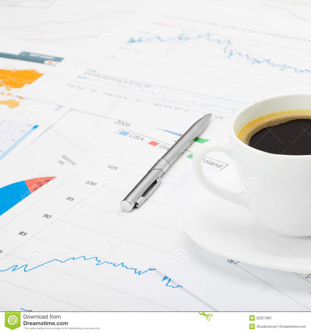 Coffee cup and calculator over world map and some financial chart - close up shot
