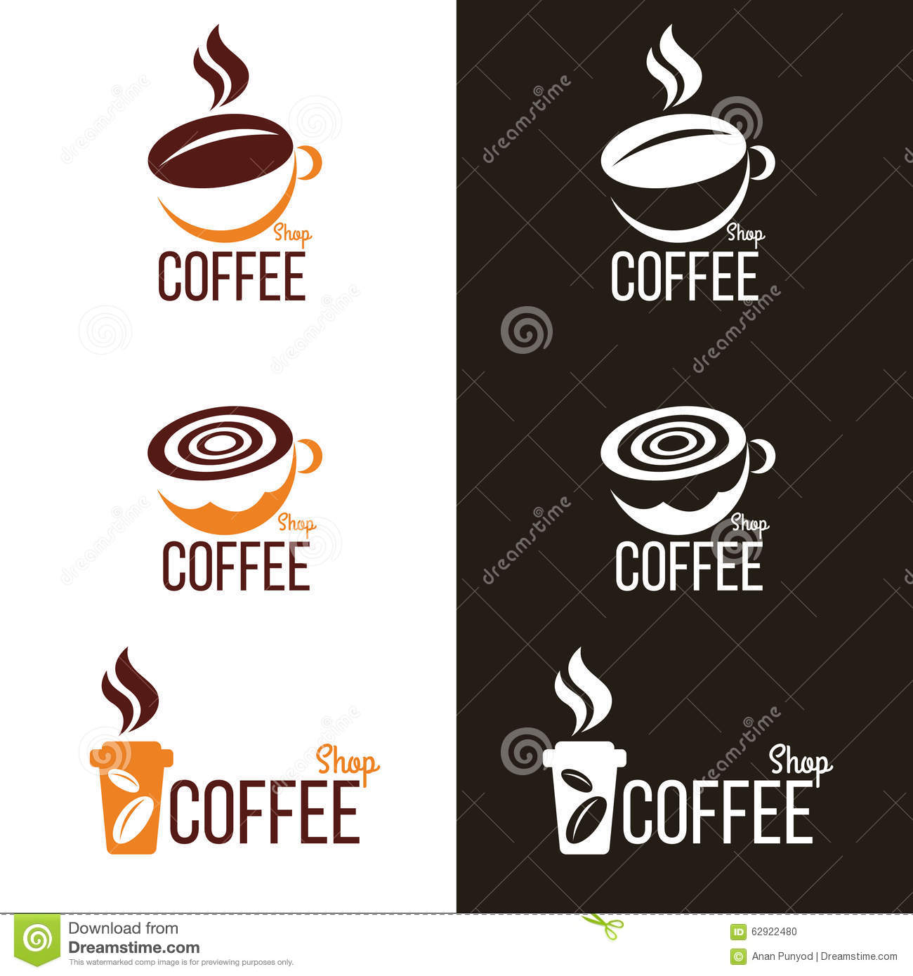 Coffee Cup And Coffee Bean Logo Vector Set Design Stock ...