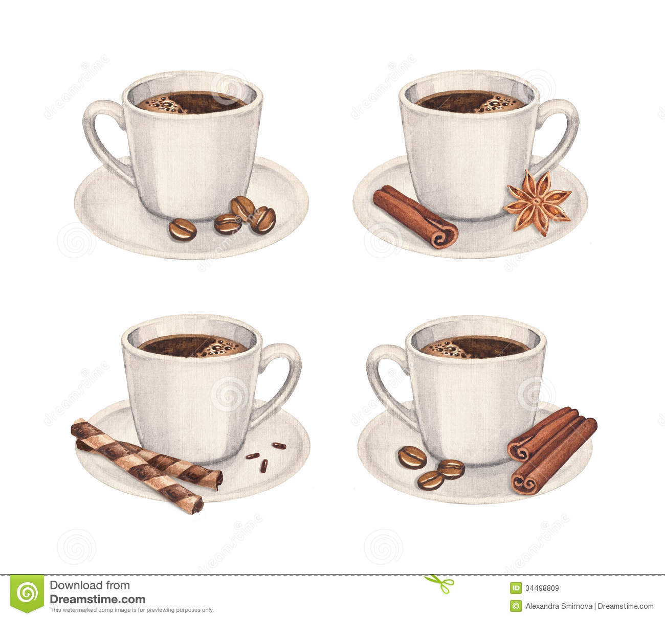 Coffee cup collection royalty free stock images image for Coffee watercolor