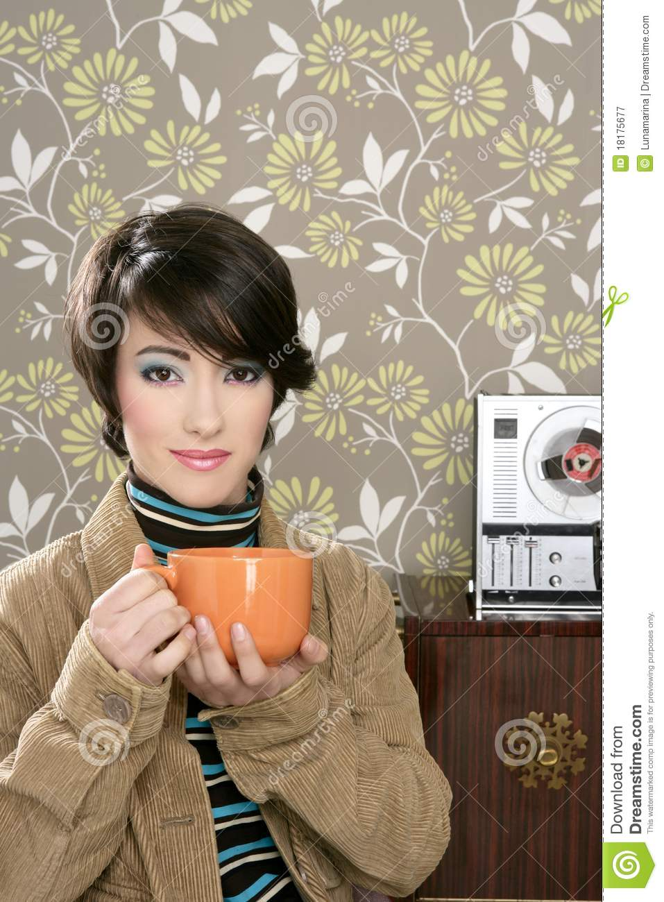 Coffee Cup Drinking Retro Fashion 60s Woman Stock Image