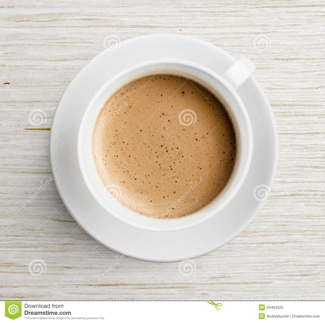 Coffee Cup With Foam On Wooden Table Top View Royalty Free Stock Photo ...
