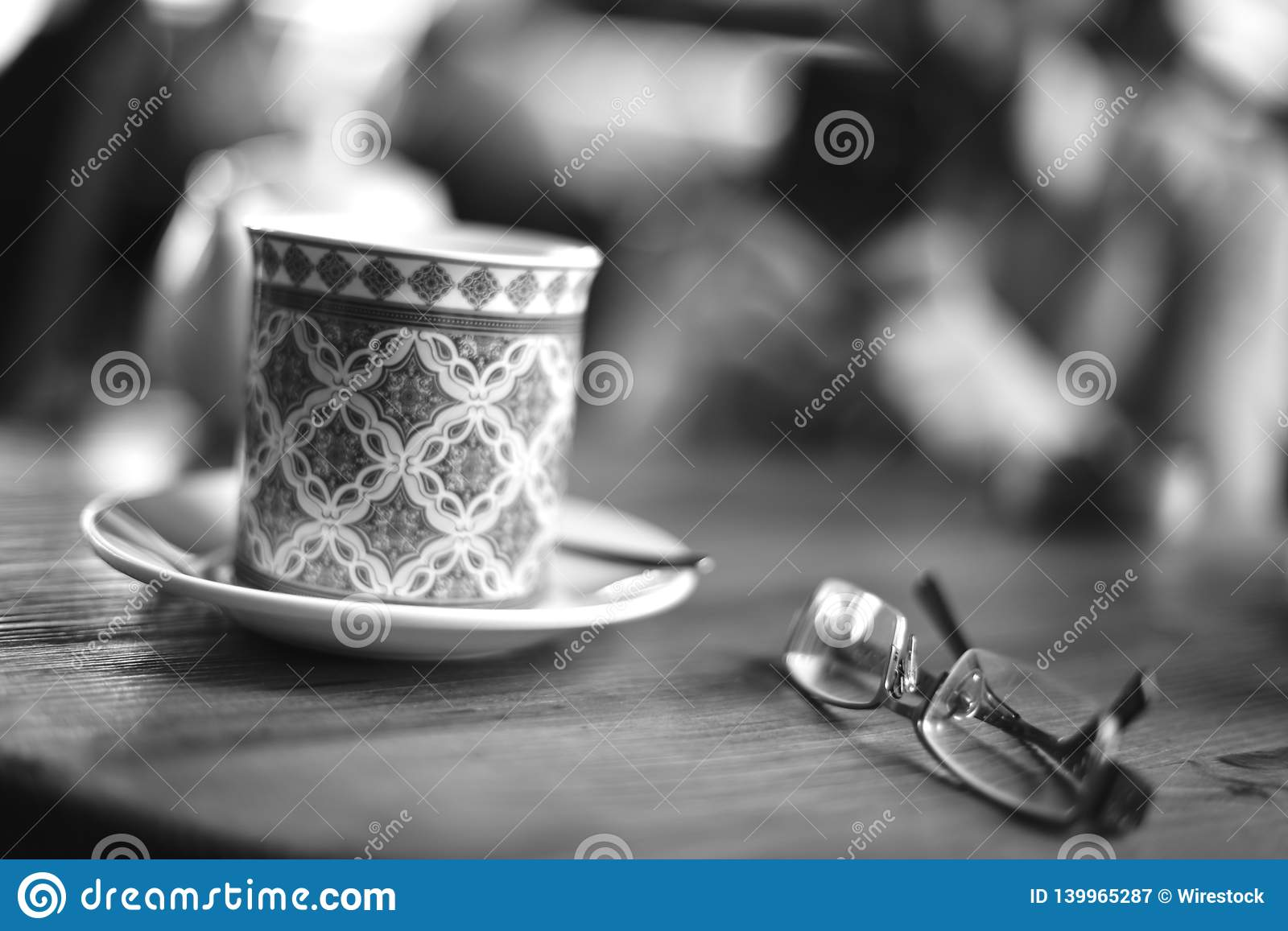 Coffee cup and glasses