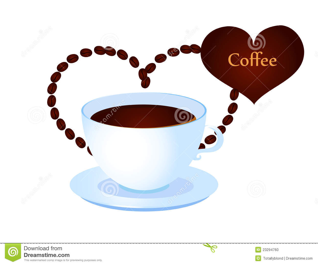 Coffee Cup With Heart From Coffee Beans Stock Vector