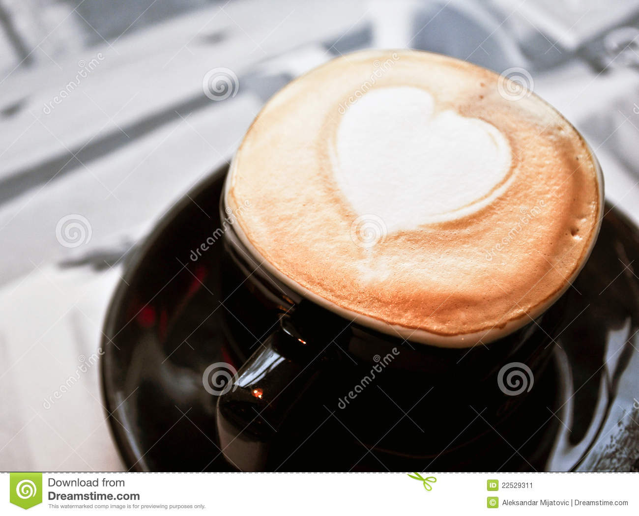 Coffee Cup With Heart Shaped Foam Stock Image - Image of ...
