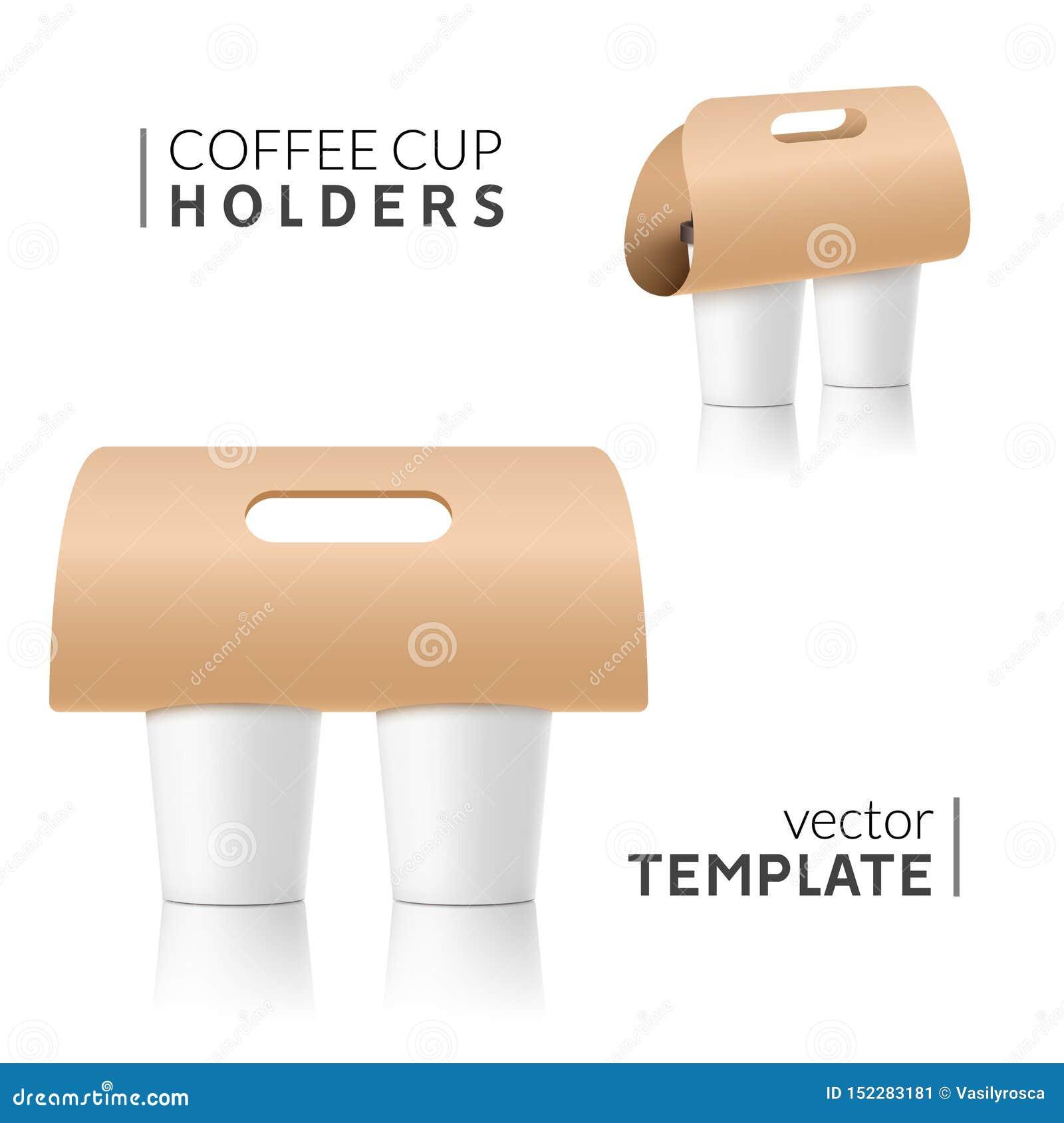 Coffee Cup Holder Paper Design Beverage Drink Handle Mockup Cardboard Coffee Cup Holder Takeaway Stock Vector Illustration Of Object Holder 152283181