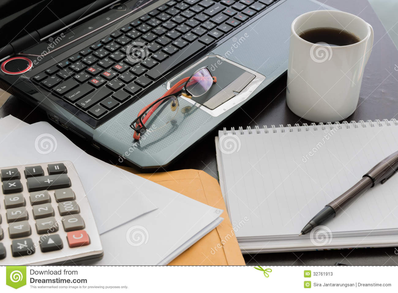 Coffee Cup Laptop Document File Pen Calculator Notepad A Stock Image Image 32761913