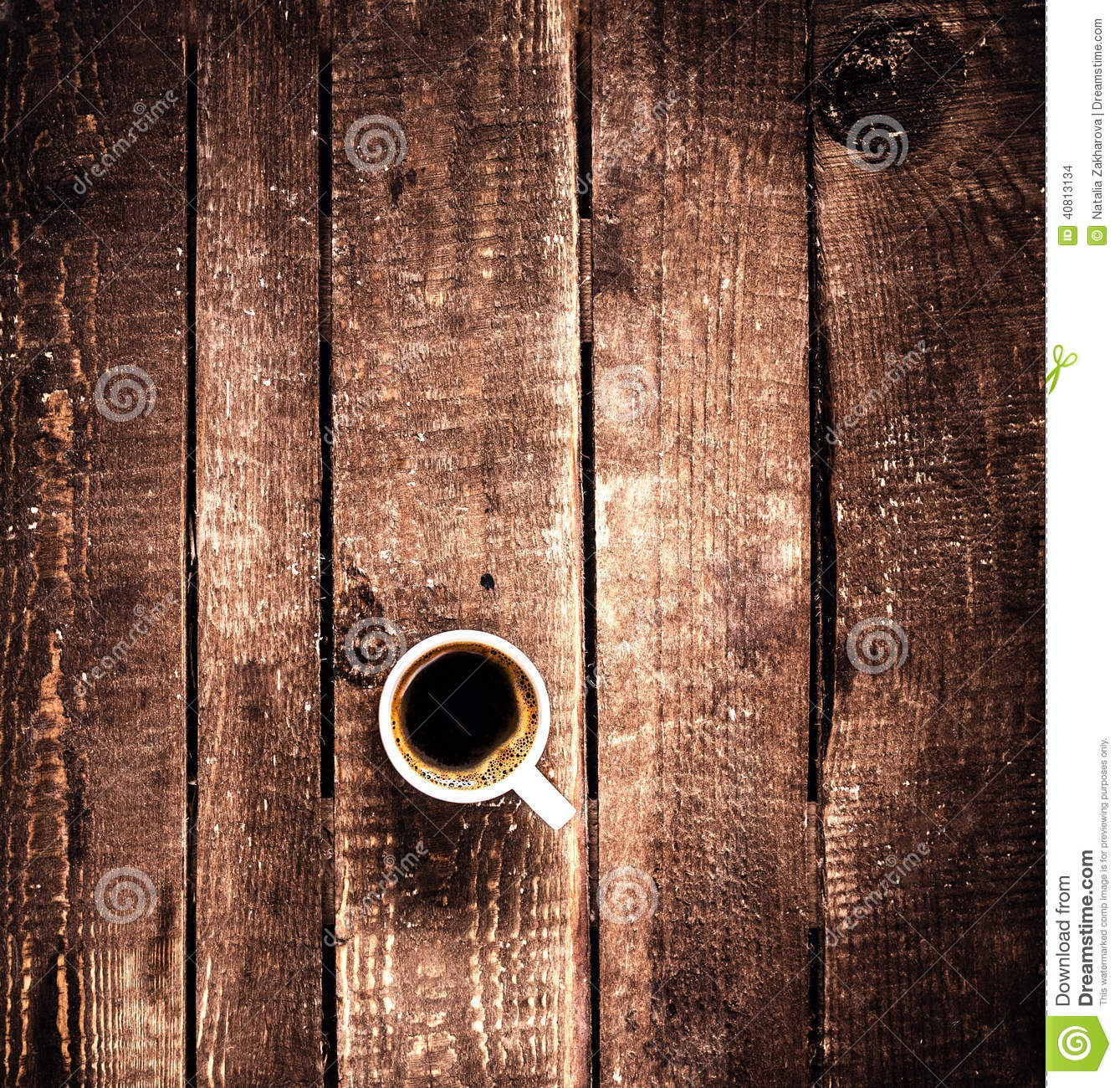 Coffee Cup On Old Wooden Background Top View. Coffee