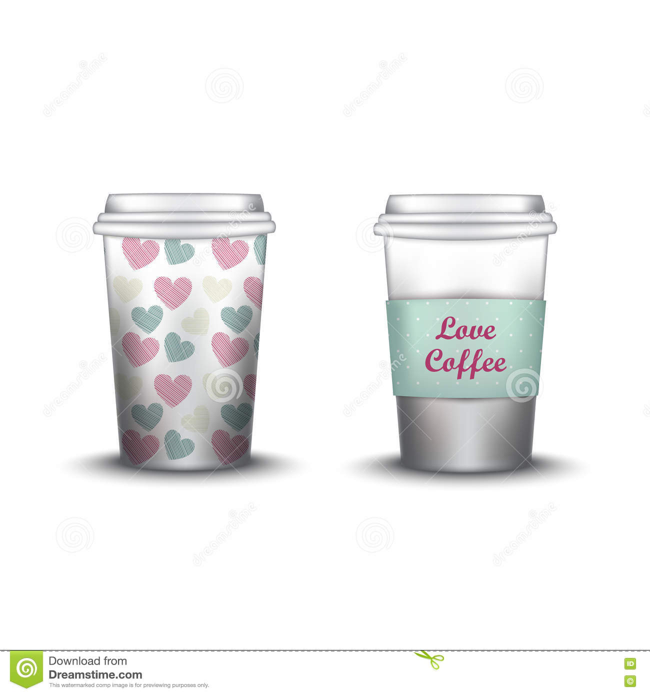 coffee cup with patterns template vector illustration takeaway set