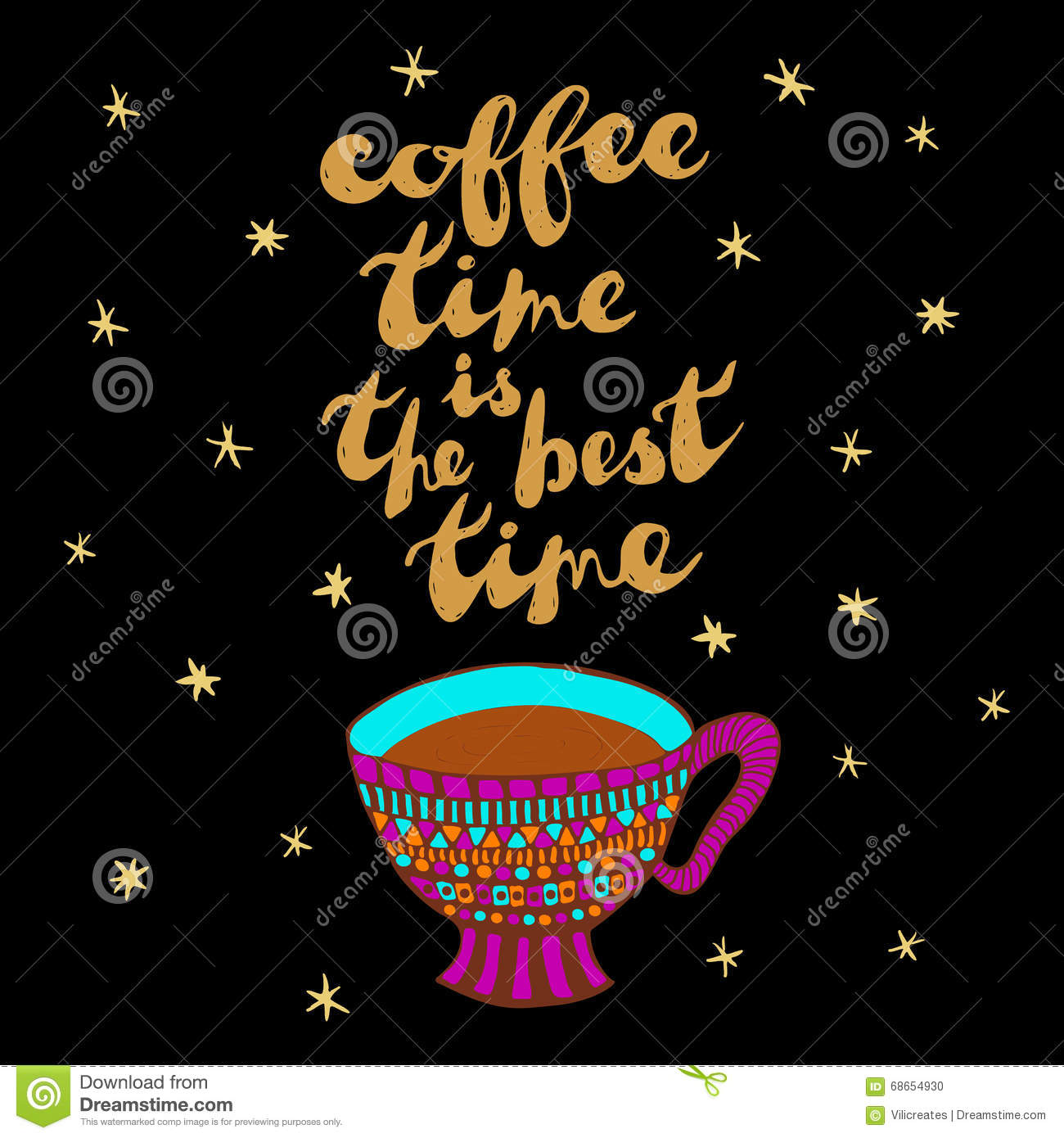 Coffee cup and phrase: Coffee time is the best time