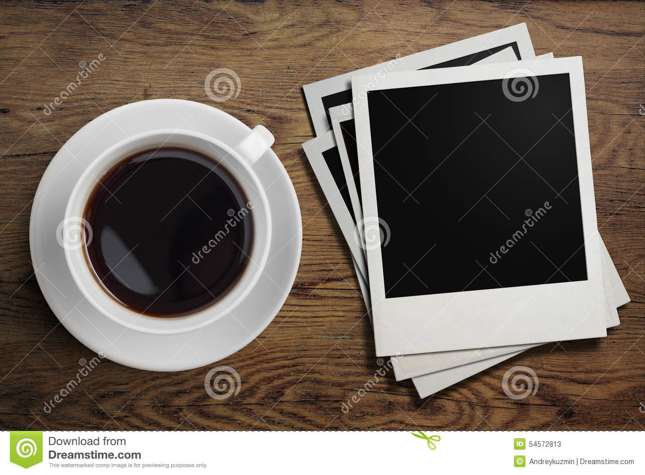 Coffee cup frames - Coffee Cup And Polaroid Photo Frames On Table