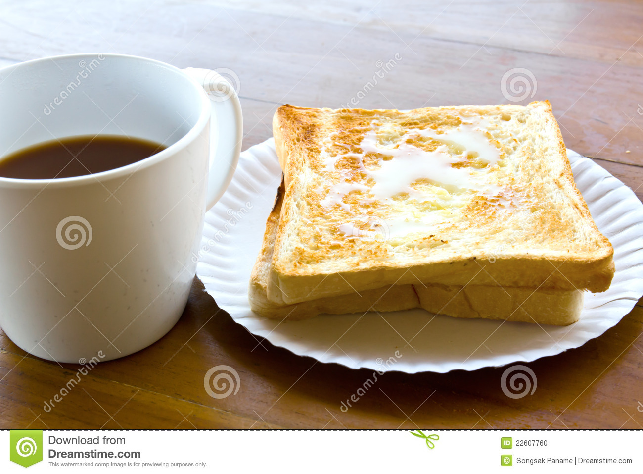 Coffee Cup And Pour The Milk Toast Stock Photo Image
