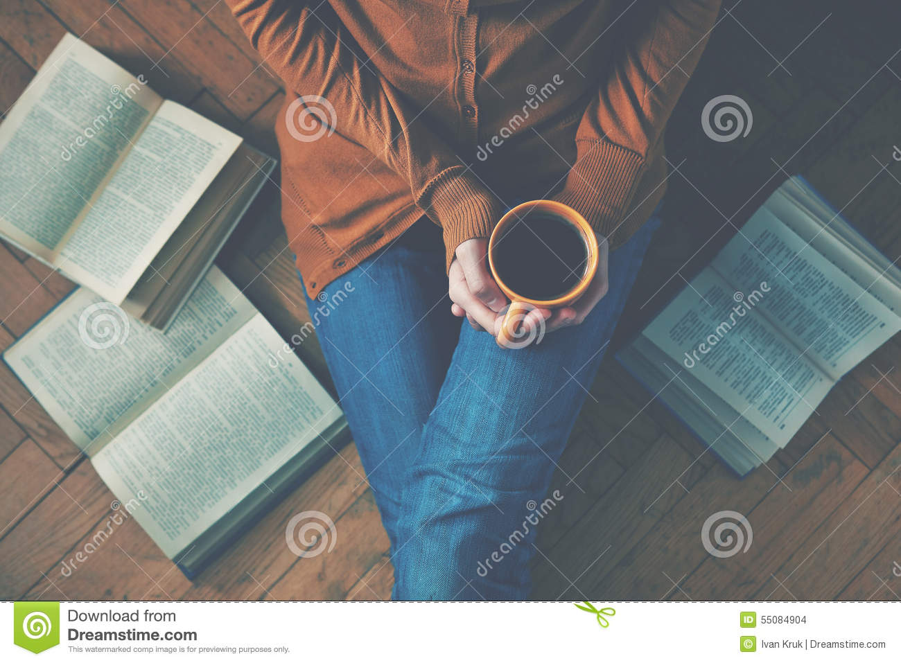 Coffee cup after reading books