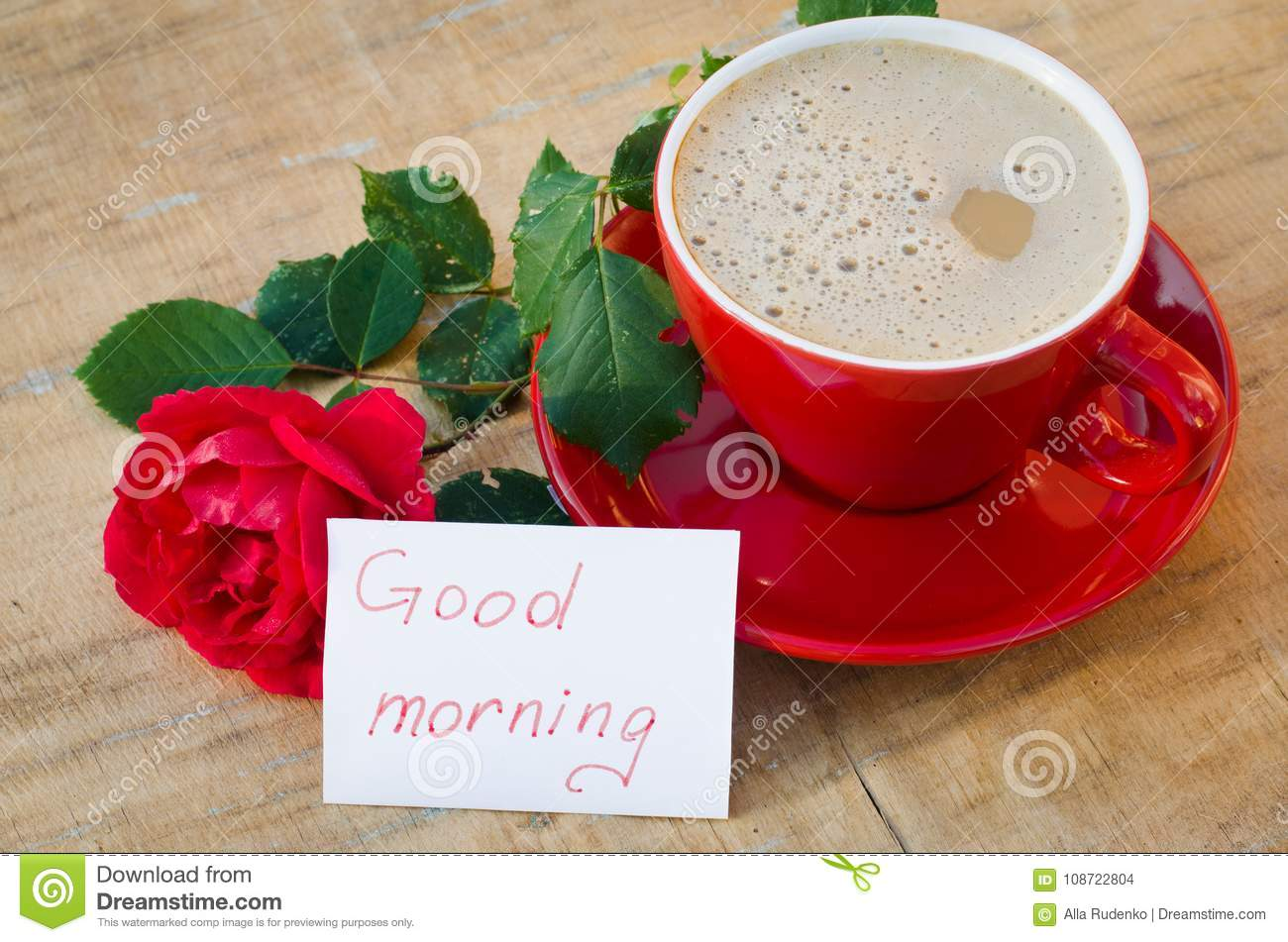 Coffee Cup With Red Rose And Notes Good Morning Stock Photo Image