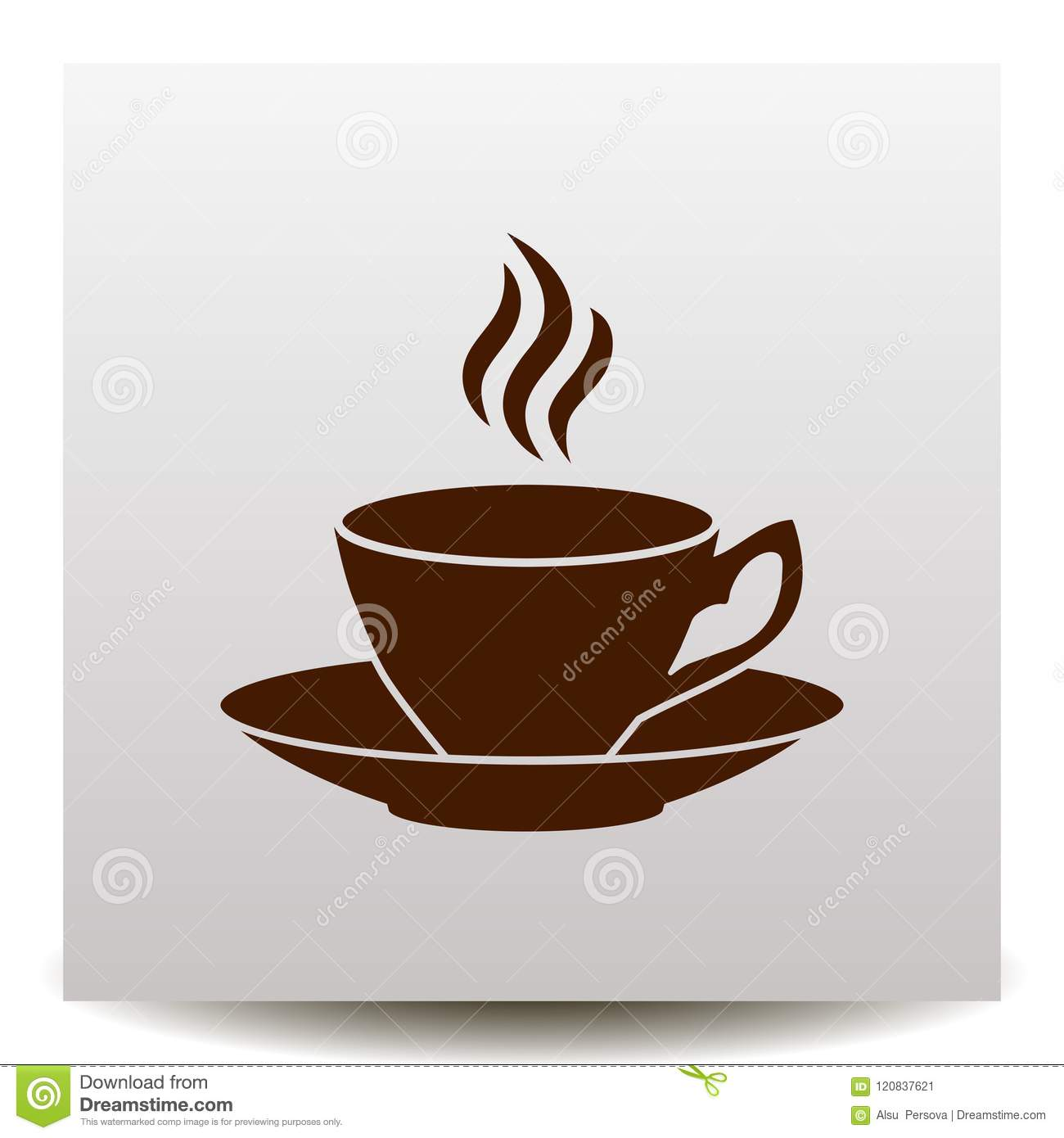 Coffee Cup With Saucer And Flavor Vector Icon Stock Vector Illustration Of Disposable Background 120837621