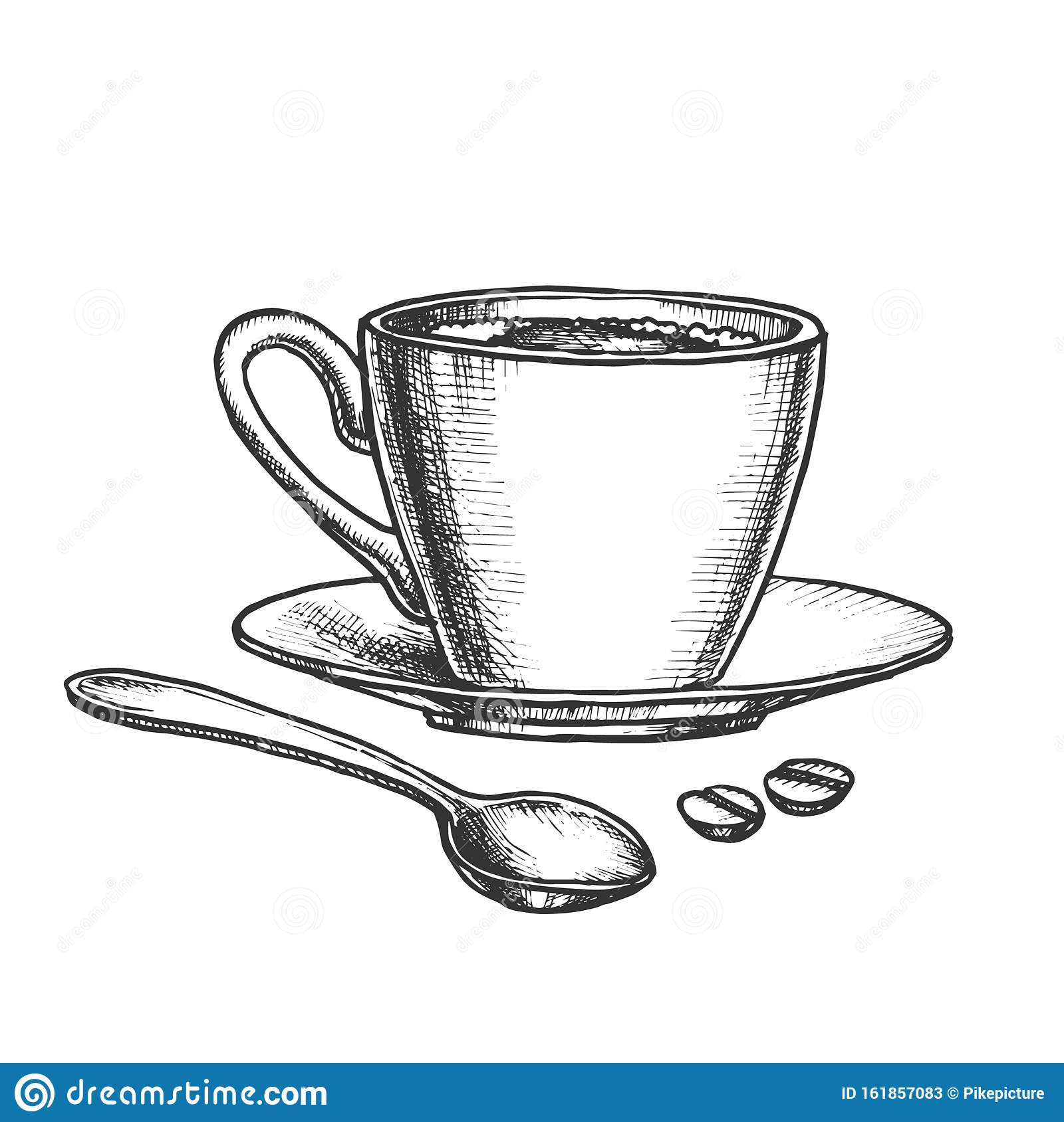 Coffee Cup On Saucer With Spoon Monochrome Vector Stock Vector Illustration Of Mockup Hand 161857083