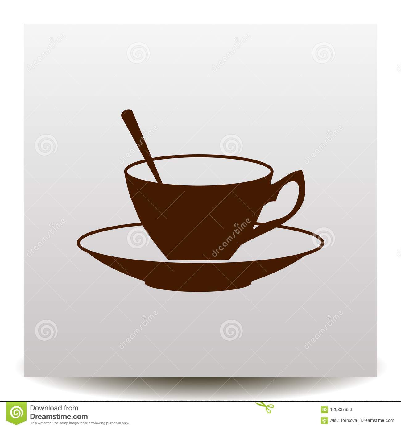 Coffee Cup With Saucer And Spoon Vector Icon Stock Vector Illustration Of Aroma Energy 120837923