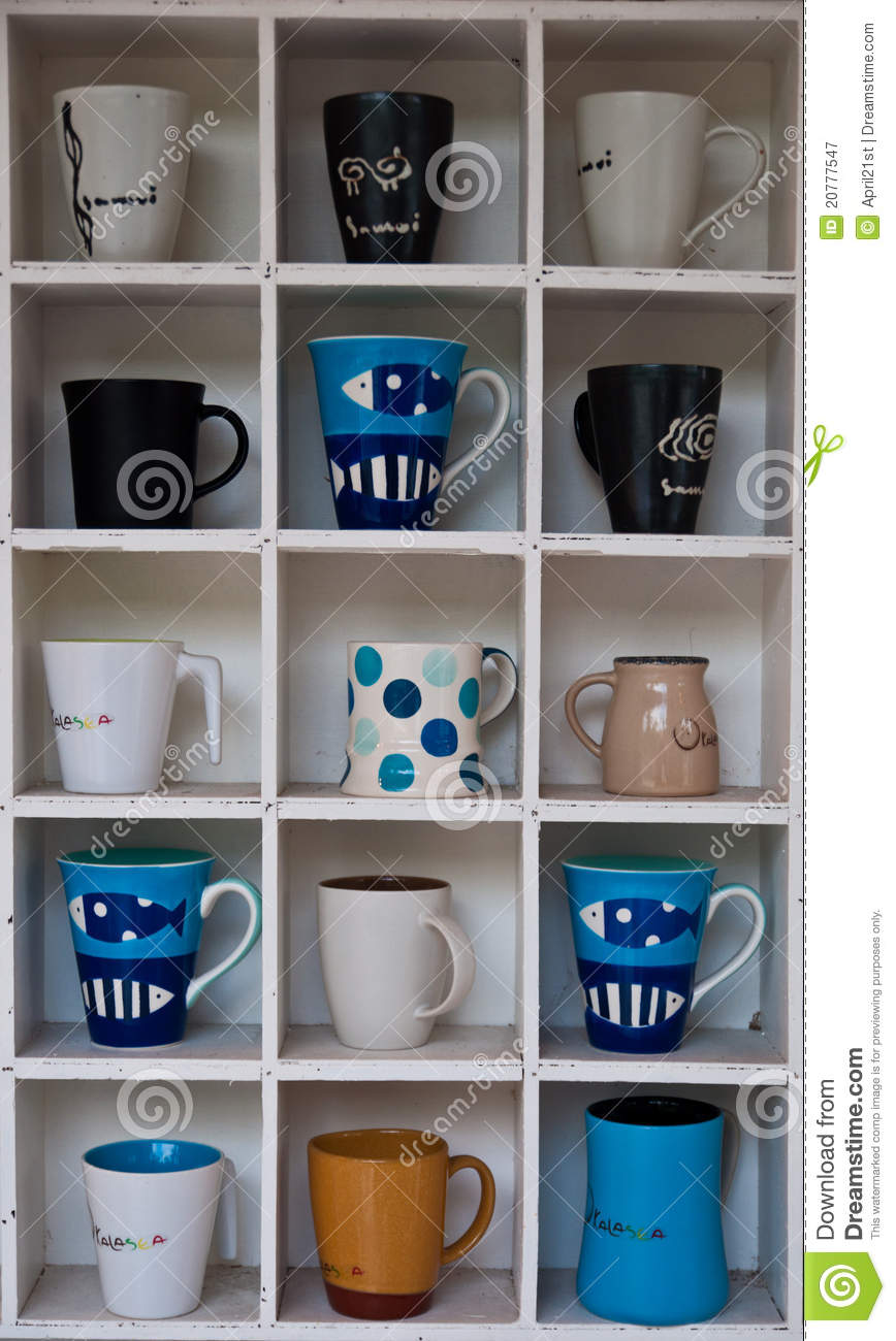 Coffee Cup Shelf Stock Image Image Of Clean Path