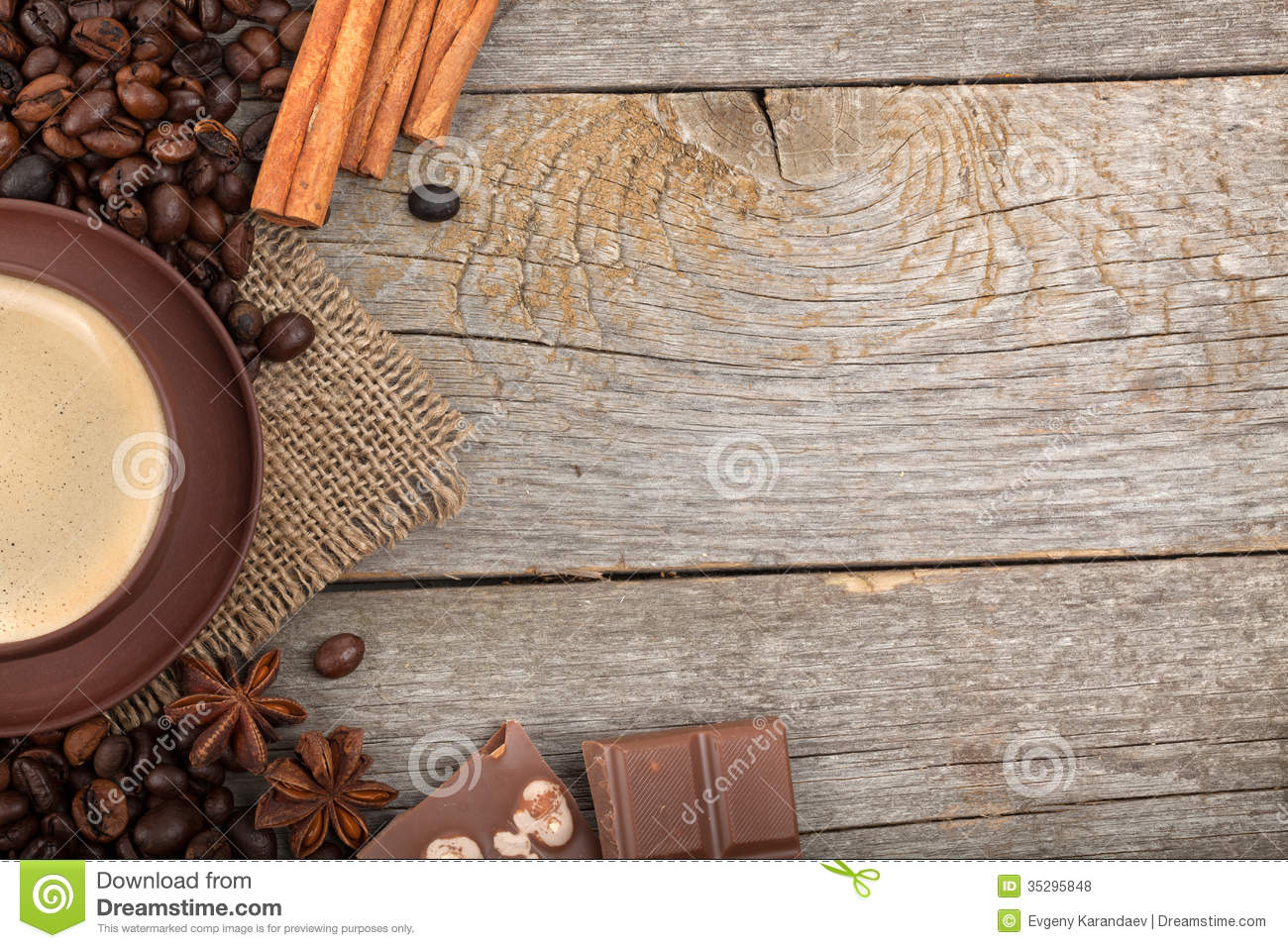 Marvelous photograph of Coffee Cup With Spices And Chocolate On Wooden Table Texture Royalty  with #86AA21 color and 1300x957 pixels