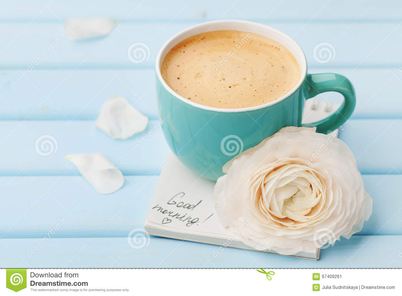 Coffee Cup With Spring Flower And Notes Good Morning On Blue Rustic