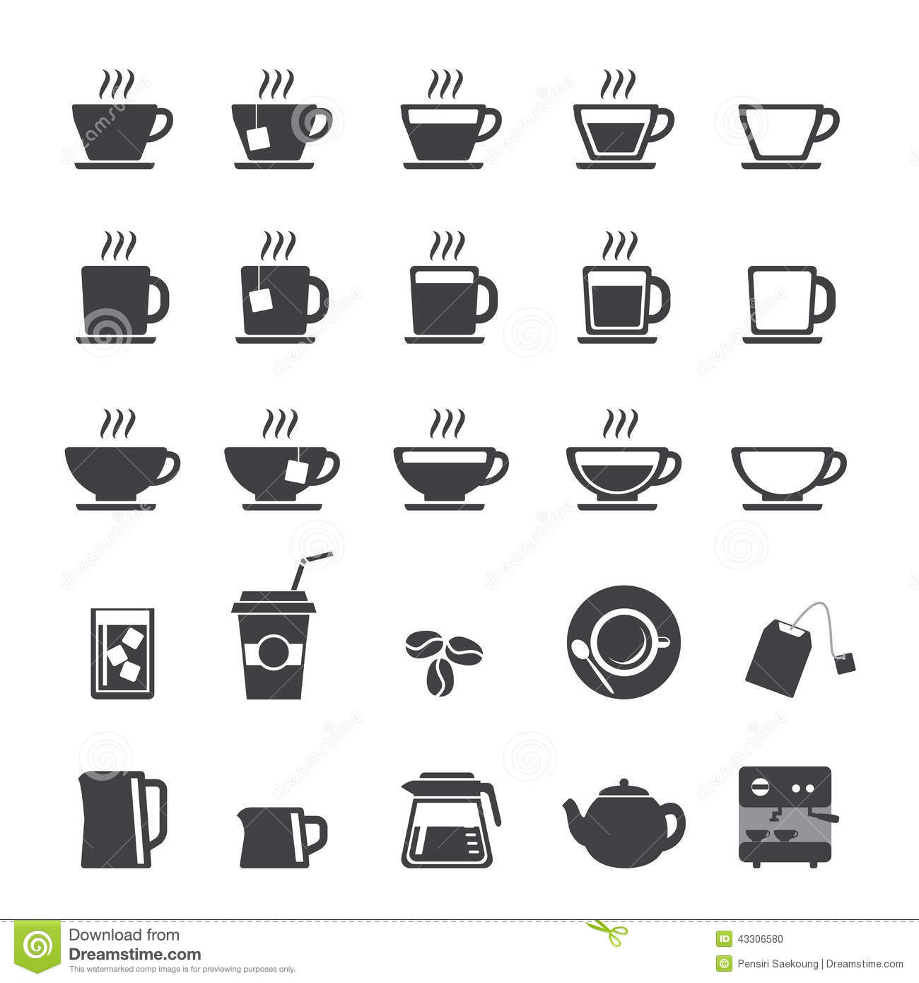 Coffee Cup And Tea Icon Set Stock Vector Image 43306580