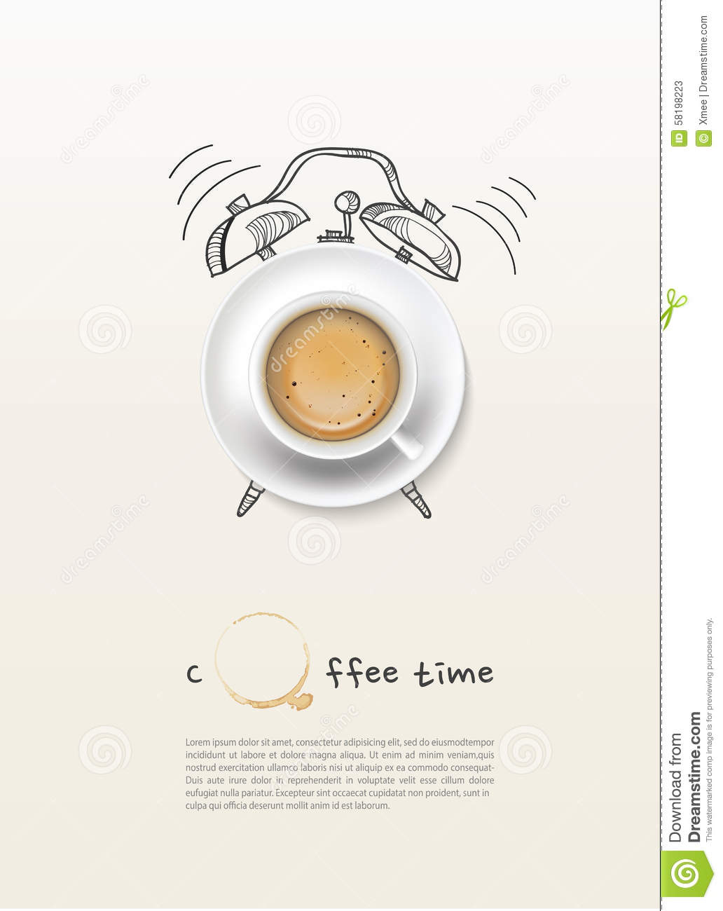 Coffee cup time clock concept design background.